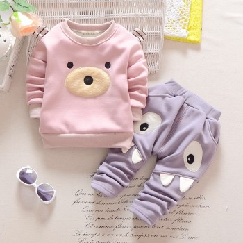 Cute Bear Decor Pullover and Pants Set for Baby and Toddler