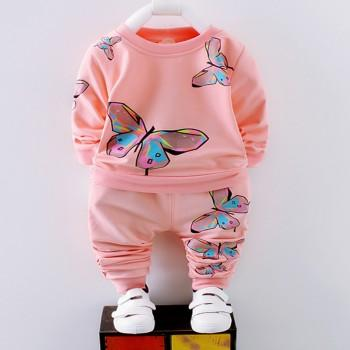 Beautiful Butterfly Print Long-sleeve Tee and Pants Set for Baby Girl