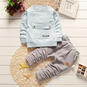 Casual Pocket Design Long-sleeve Pullover and Striped Pants Set for Baby Boy