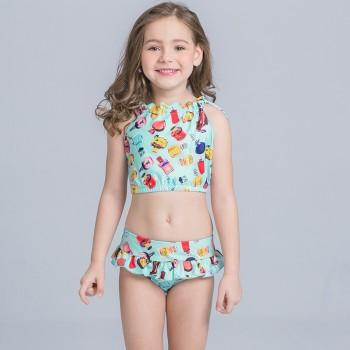 2-piece Sweet Graphic Ruffled Tankini Set for Toddler Girl and Girl