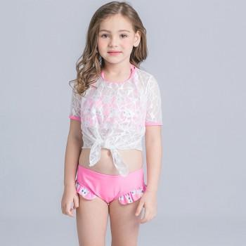 Cute Bear Print Ruffle 2-piece Swimsuit and Mesh Top Set for Girls