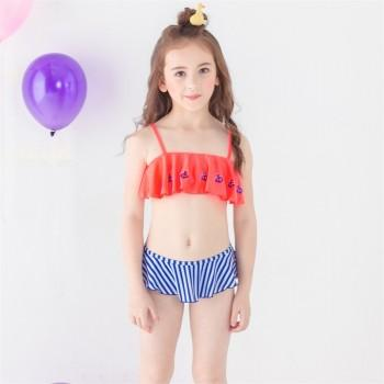 2-piece Sequin Anchor Applique Ruffled Stripes Bikini Set for Girls