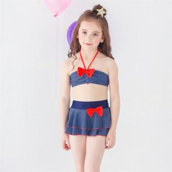 3-piece Lovely Dotted Bow Decor Bikini and Skirt Set for Toddler Girl and Girl