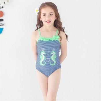 Stylish Seahorse Print Striped Swimsuit for Baby Girl and Girl