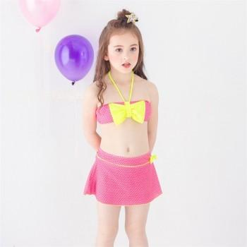 3-piece Lovely Dotted Bow Decor Halter Bikini and Skirt Set for Baby Girl and Girl