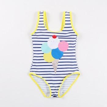 Stylish Ice-cream Print Striped Swimsuit for Girl