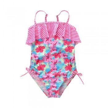 Trendy Floral Ruffle Design Swimsuit for Girl