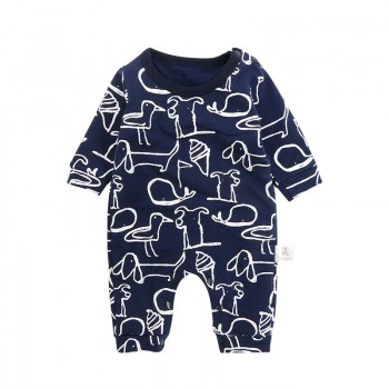 Cute Animal Print Long-sleeve Jumpsuit for Baby Boy