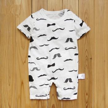 Soft Moustache Print Short Sleeves Romper for Baby Boy