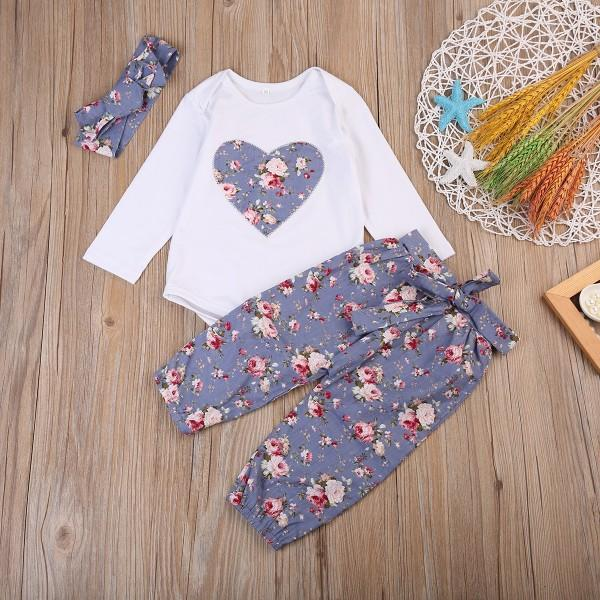 Beautiful Floral Bodysuit and Pants and Headband Set for Baby Girl