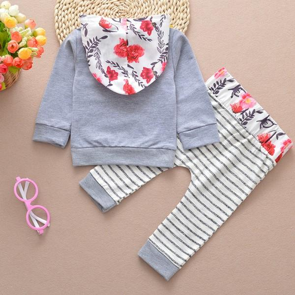 Pretty Striped Floral Hoodie and Pants Set for Baby Girl