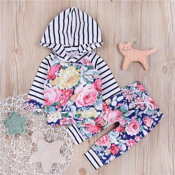 2-piece Pretty Floral Stripes Hooded Top and Pants for Baby Girl