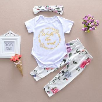 Pretty Flower Print Short Sleeve Bodysuit,Floral Pants and Headband Set for Baby Girl