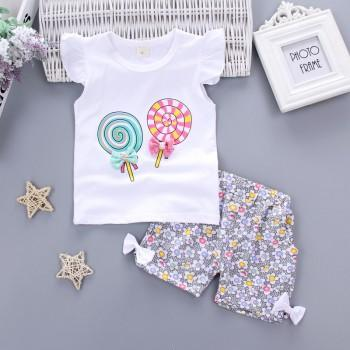 Sweet Lollipop Print Short-sleeve T-shirt and Floral Pants Set for Baby Girl