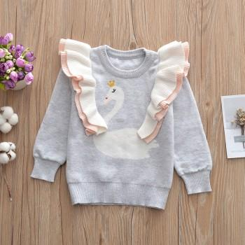 Super Cute Swan Print Long-sleeve Top for Baby