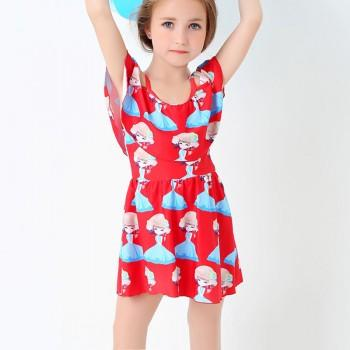 Sweet Cartoon Print Swimsuit in Red for Girl