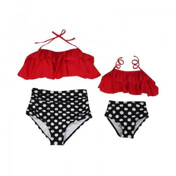 Sweet Polka Dotted Ruffled 2-piece Bikini Set for Mom and Me