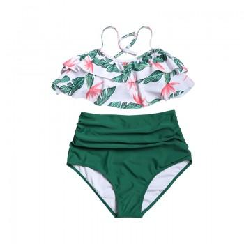 Sexy Floral Ruffle Decor Halter Bikini Set for Women