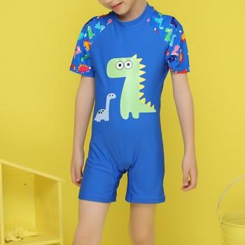 Lovely Dinosaur Print Raglan Sleeve Swim One Piece for Toddler Boy and Boy