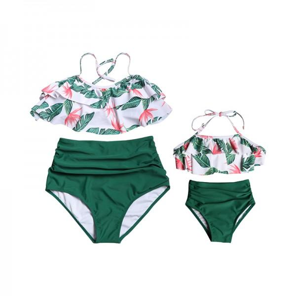 Tropical Print Ruffled Halter 2-piece Bikini Set for Mom and Me