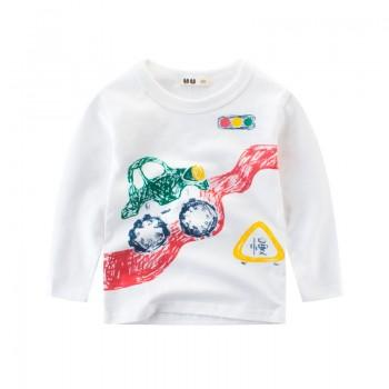 Lovely Vehicle Print Long-sleeve T-shirt for Toddler Boy and Boy