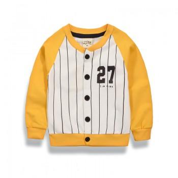 Cool Number Print Striped Long Sleeve Sporty Coat for Toddler and Kid