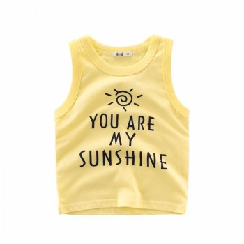 Comfy YOU ARE MY SUNSHINE Print Tank Top in Yellow for Toddler Boy and Boy