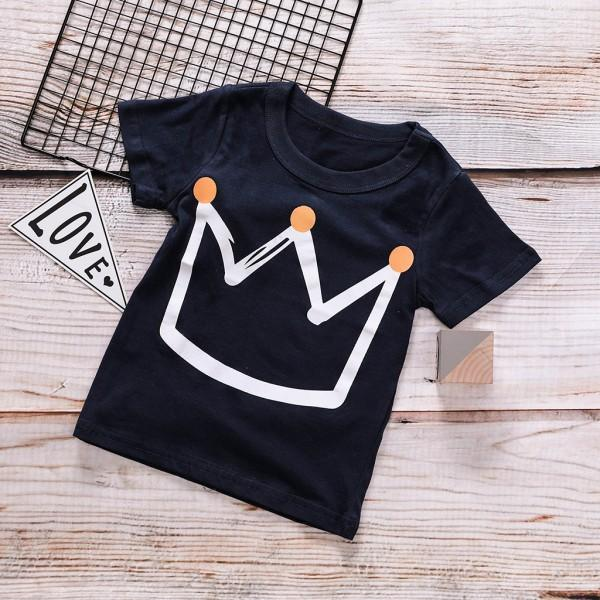 Stylish Crown Print Short-sleeve T-shirt for Toddler and Kid