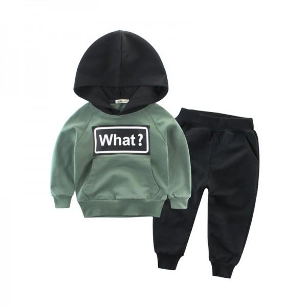Comfy WHAT Print Hoodie and Pants Set for Toddler Boy and Boy