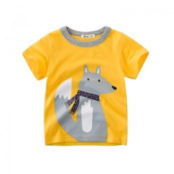 Cute Fox Print Short-sleeve Top for Boys