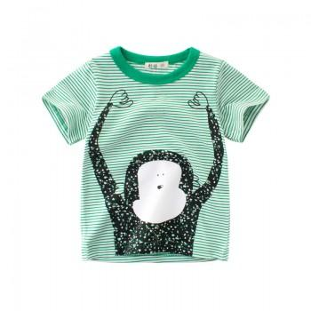 Cute Striped Ape Print Short-sleeve T-shirt in Green for Toddler Boy and Boy