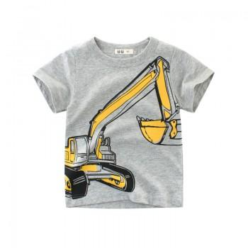 Fun Excavator Print Short-sleeve T-shirt in Grey for Toddler Boy and Boy