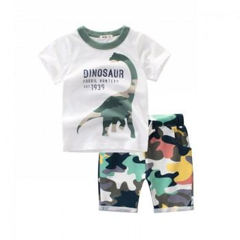 Cool Dino Print Tee and Camouflage Shorts Set for Toddler Boy and Boy