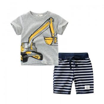 Stylish Excavator Print Short-sleeve Tee and Striped Shorts Set for Toddler Boy and Boy