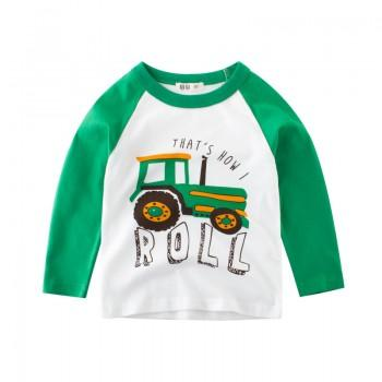 Fun Tractor Print Long-sleeve Tee for Toddler Boy and Boy