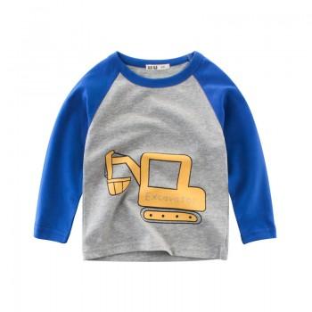 Cute Cartoon Car Print Long-sleeve Top for Baby Boy and Boy