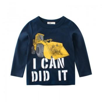 Trendy Excavator Print Long-sleeve Top for Baby and Kid