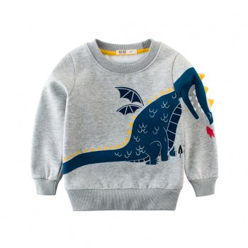 Cute Dinosaur Print Long-sleeve Pullover in Grey