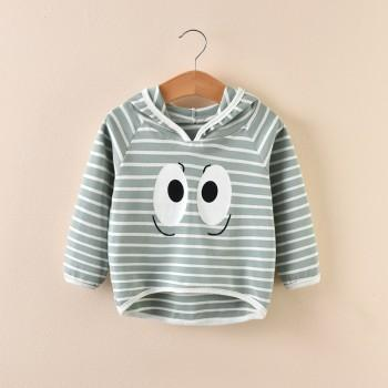 Cute Big Eyes Print Stripes Hooded Top for Girls