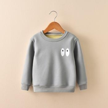 Cute Eyes Print Solid Long Sleeves Pullover for Baby