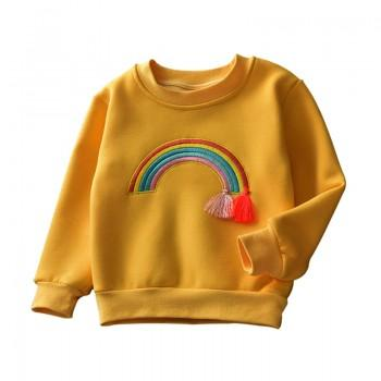 Sweet Rainbow Embroidery Tassel Long-sleeve Pullover for 1.5-4 Years Girls