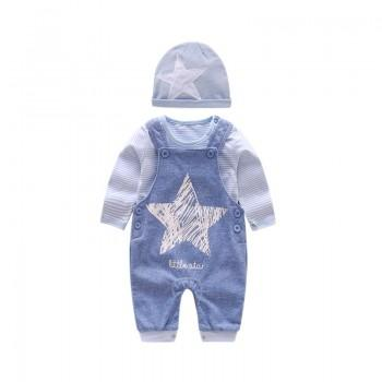 Comfy Striped T-shirt and Suspender Pants and Hat Set for Baby