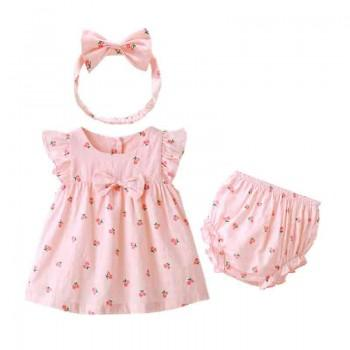 3-piece Flutter Sleeves Floral Dress Pantie and Bow Headband for Baby Girl