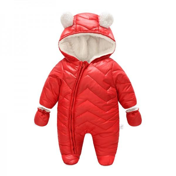 Warm Fleece-lining Hooded Jumpsuit and Gloves (Footie for 3-12 M )