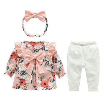 3-piece Pretty Floral Bowknot Decor Top, Solid Pants and Headband Set for Baby Girl