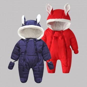 Warm Fleece-lining Rabbit Design Quilted Jumpsuit and Gloves (Footie for 3-12 M )