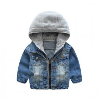 Cool Faux-two Hooded Denim Coat for Boys