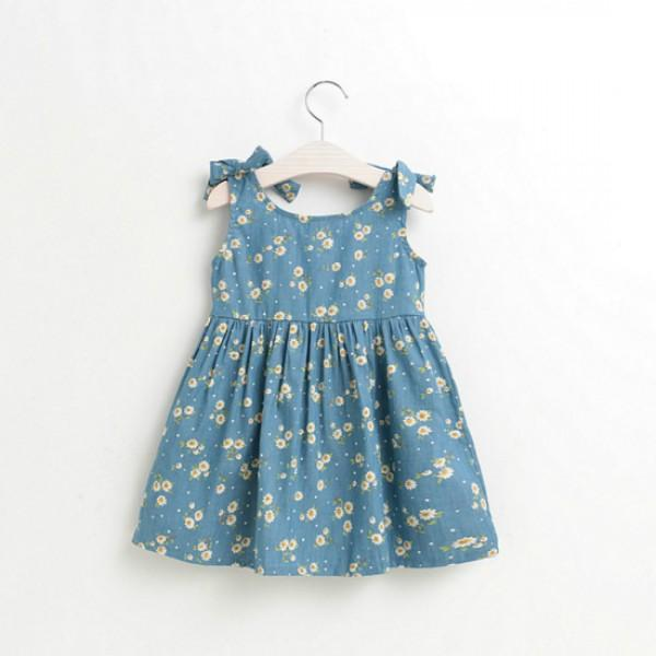 Sweet Bow Decor Floral Sleeveless Dress for Baby Girl and Girl