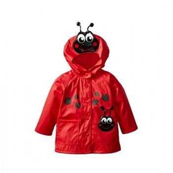 Cute Ladybug Applique Hooded Raincoat for Baby Girl