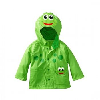 Cute Frog Applique Hooded Raincoat for Baby